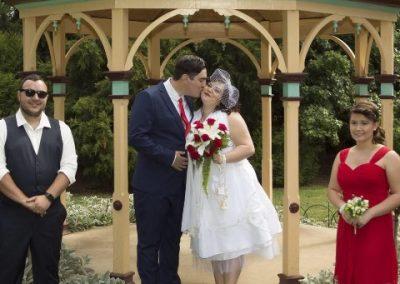 Kim and Rhys having fun on their wedding day